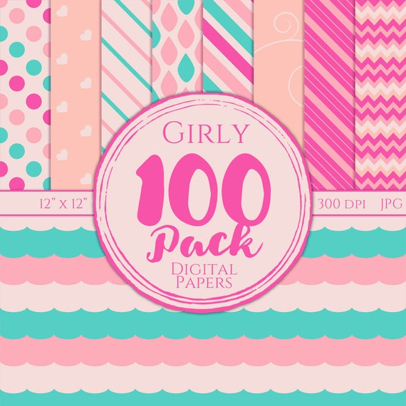 Digital Paper 100 Pack - Girly - Commercial Use, Girly Digital Patterns, Cute Digital Paper, Girly Digital Paper