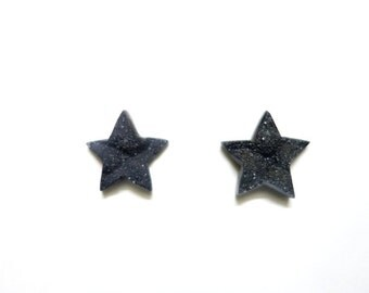 Pair Of Black Druzy Stars ,Druzy Stone