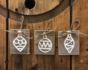 Painted Reclaimed Wood Ornaments