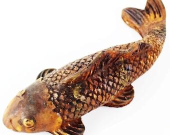 Koi fish statue etsy for Statue carpe koi