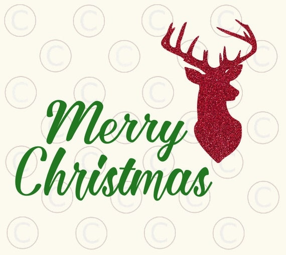 Download Merry Christmas SVG Cut File Reindeer head Holiday HTV HTV