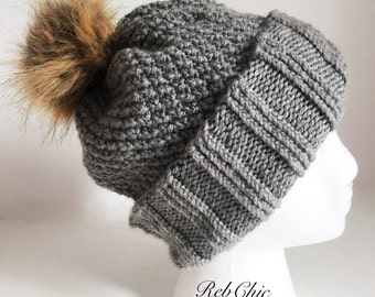 Knitted toque pompoms fake fur / gray