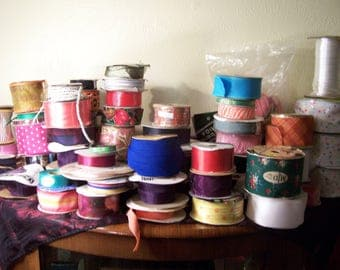 Decorative ribbon grab bag for crafting , floral, sewing etc. Some vintage Lot #2