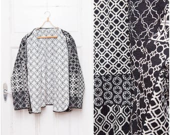 80s 90s Monochrome Blazer Oversize Patchwork Jacket Extra Large Multi Pattern Blazer Reversible Open Front Black & White Geometric Blazer