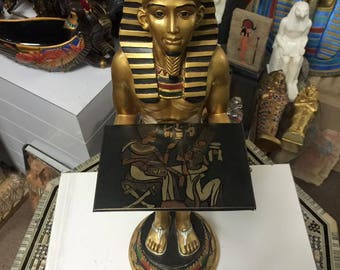 Vintage Hand Carved Egyptian King Servant Made In Egypt