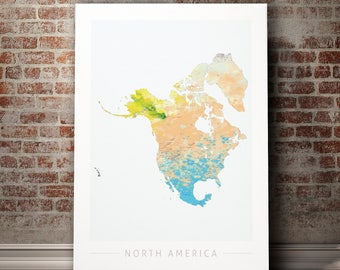 North America Map - Continental Map of North America - Art Print Watercolor Illustration Wall Art Home Decor Gift Embossed PRINT