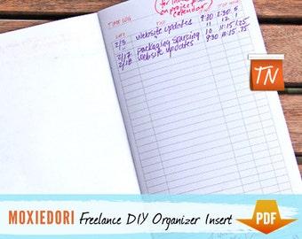 The Freelancer Freelance Organizer Insert, Traveler's Notebook Insert, PDF Download, Fits Midori