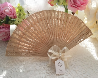 Wedding Fans with Personalised tags, Wedding Favours, Wedding guest gifts, Wooden fans, Wedding Fans with Satin Ribbon and pearl