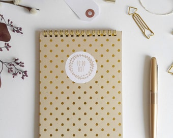 To do List notebook, to-do list notepad, spiral notebook, spiral daily planner notebook, daily organizer, gold kraft note pad, A5 memo pad