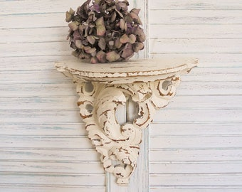 Wall console Shabby Chic antique white wood