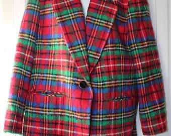 Pendleton VINTAGE Women's 16W 100% Virgin Wool Red Plaid Blazer w Shoulder Pads
