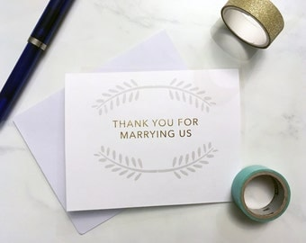 Thank you for marrying us card for your officiant - Wedding day cards