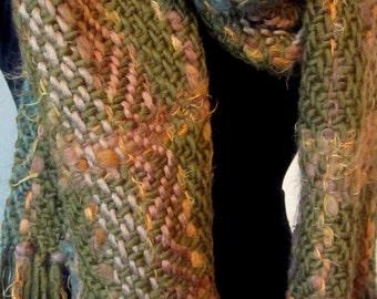 Fig Beige Olivia Green Handwoven Scarf/Shawl
