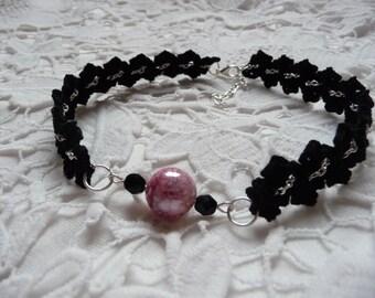 Crochet choker chain choker black necklace bead choker beaded necklace pink beaded necklace crochet jewelry crochet jewellery