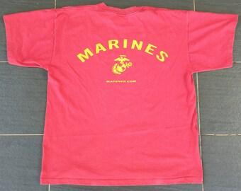 Vtg USMC Marines.Com T Shirt Made In USA