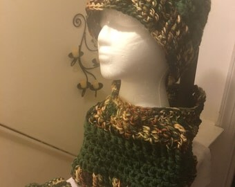 Cable winter hat, Neckwarmer and Fingerless gloves