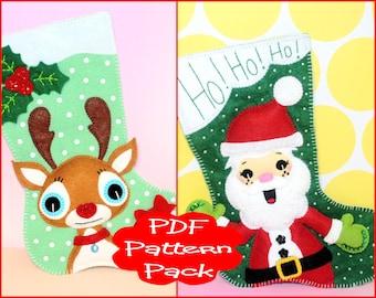 PDF Pattern Pack - Felt Santa & Reindeer Christmas Stocking Patterns - For Sewing Soft Christmas Festive Mini Christmas Stocking Decoration
