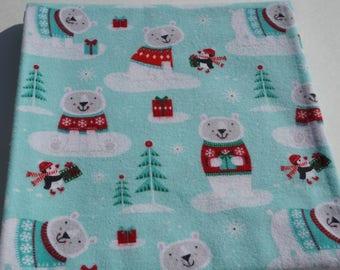 Baby Receiving Blanket, Winter Bear Blanket, Holiday Blanket, Baby Blanket, Flannel Blanket, Swaddle Blanket, Light Green, Bears and Penguin
