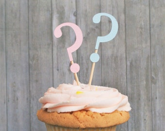 Gender Reveal Party, Cupcake Toppers, Baby Shower, Gender Reveal Party Decorations, Boy or Girl, Party Decorations, Question Marks