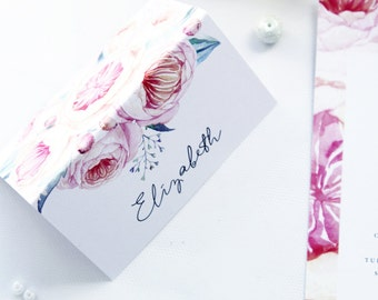 Modern Place Cards, Name Cards, Printable Files or Printed Cards - Your Choice, Wtaercolour Flowers