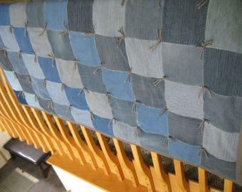 Handmade Tied Denim Jean Lap Throw Quilt Blanket