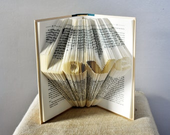 "Book Art Sculpture Featuring the Word ""Love"" - Anniversary Folded Book Gift for the Book Lover"