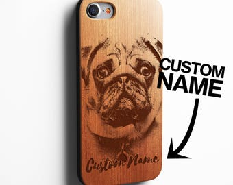 Pug Custom Name iPhone Case SE 5c 5s 5 6 /6s 7 Plus Case iPhone 7 Case Samsung Galaxy S6 / S7 Real Wood Case Laser Engraved Personalised Pug