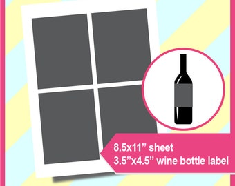 "Instant Download, Wine bottle Label Template, PSD, PNG and SVG Formats,  8.5x11"" sheet,  Printable 063"