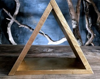 Gold **Elemental** Pyramid Triangle Shelf~ Display~ Made with Pine~  Fire or Water