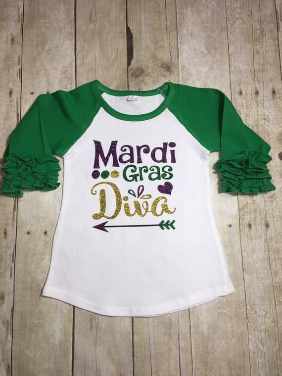 Mardi Gras Diva Shirt Shirt Ruffle Reglan Purple Green And