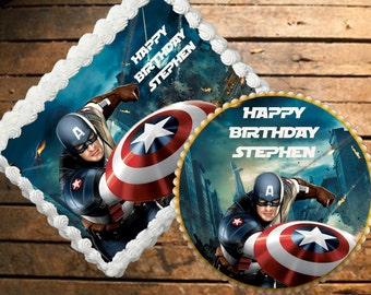 Captain America Edible Cake Topper