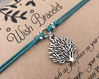 Tree of Life Wish Bracelet, Make a Wish Bracelet, Tree of Life Bracelet, Wish Bracelet, Friendship Bracelet, Tree Bracelet, Gift for Her