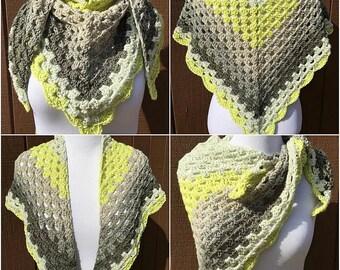 Gray and Yellow Crochet Shawl, Triangle Scarf, Crocheted Shawl, Yellow Shawl, Gifts for Her, Crochet Shawl, Shawlette, Shawl Wrap