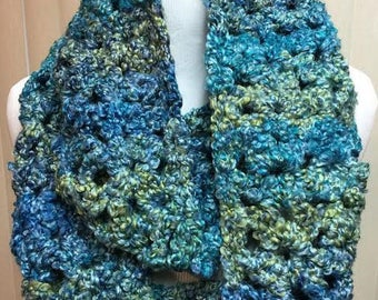 CLEARANCE SALE Blue and Green Metallic Scarf, Blue Crochet Scarf, Blue and Green Scarf, Blue Infinity Scarf, Fuzzy Scarf, Gifts for Her