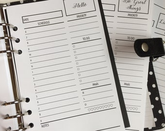 Day On One Page Printed Half Letter Size Planner Inserts - A5 Planner Inserts