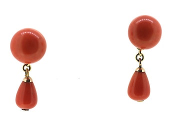 Art Deco Coral Earrings / Coral Drop Earrings / Gold Coral Earrings / 18ct Gold Coral Drop Earrings / Vintage Natural Coral Earrings / Coral