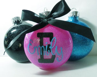 Personalized Christmas Ornament - Personalized Glitter Ornament - Name Glitter Ornament - Name Ornament - Glitter Ornament - Custom Ornament