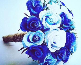 Dark blue Wedding Bouquet, bride flowers, origami bouquet, crepe paper flowers.