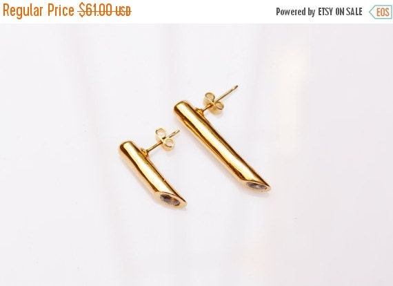 WINTER SALE- gold earrings, gold crystal studs,gold tube earrings, ,gold posts, long gold earrings, asymmetrical earrings, statement earring