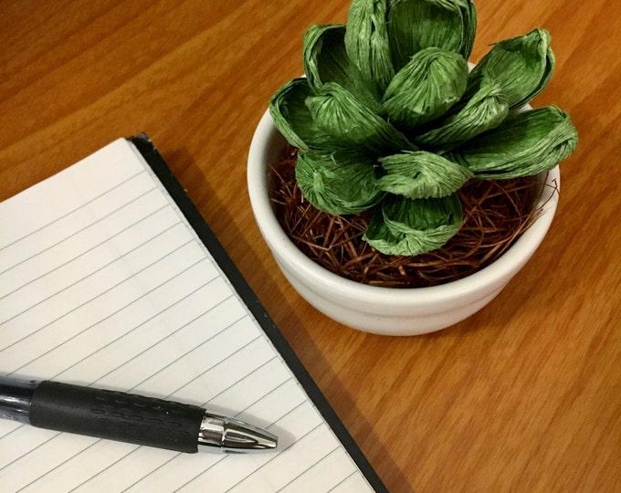 Paper Succulent in Porcelain Vase