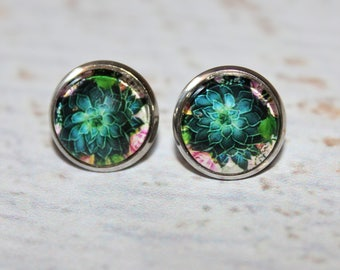 Round Glass Cabochon Stud Earrings 12mm Succulent Plant Pattern Hypo Allergenic Surgical Steel Nickel Free