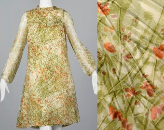Small Sheer Romantic Dress Garden Party Dress Sage Green Dress Vintage 1960s 60s Floral Two Layers Shift Long Sleeve