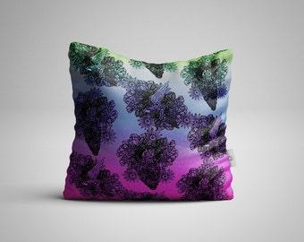 Hand Drawn Bird And Floral Cushion