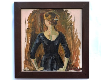 FRAMED ORIGINAL Oil PAINTING by Repka S. 1970s Female Figure, «Dancer», Female Portrait, Vintage Art, Ready to hang, One of a kind, Handmade