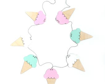 Kids Room Decor Wood Garland Hand made - Ice Cream