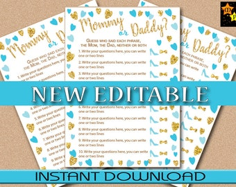 "Mommy or Daddy, Who Said Baby Shower Game, Blue and Gold Hearts, EDITABLE in Acrobat Reader, 5""x7"" game board, Instant Download, DIY, PDF"
