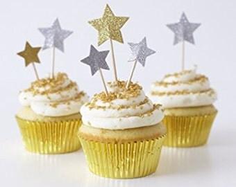 24 Gold & Silver Glitter Party Picks Meri Meri - Free Shipping-