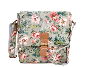 Oilcloth Crossbody bag - Pink Peony Satchel - Ladies handbag - Oil cloth Crossbody Purse- Leather buckle bag- Laminated cotton - Waterproof