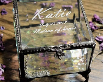 Bridesmaid Gift Glass Jewelry Box Personalized Gift for Wedding Party Keepsake Gift Vintage Stained Glass Box Engraved Box 326 EB230