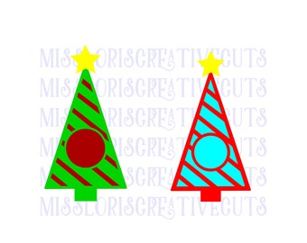 Monogram stripped Christmas Tree SVG Cut file christmas  cut filescrapbook vinyl decal wood sign cricut cameo Commercial use